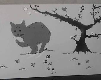 grey cat and bonsai tree painting