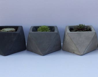 Geometric Concrete Planter for Succulents in three shades of Grey