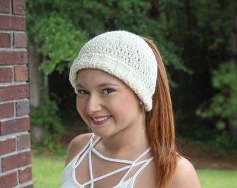 Crochet bun/ponytail beanie