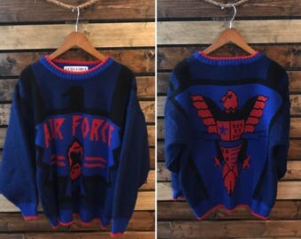 Vintage Made in USA air force pull over sweater