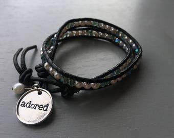 Adored Leather Double Wrap Bracelet