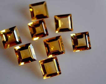 6  mm AAA citrine square  faceted - top grade gemstone AAA quality