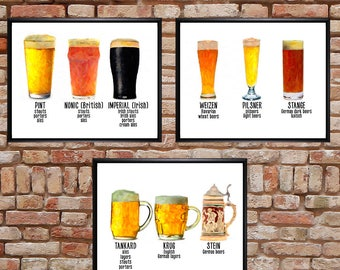 Discounted Set of Three Beer Mug Prints, Beer Poster, Bar Decor, Bar Art Digital Download Printable File #bc52