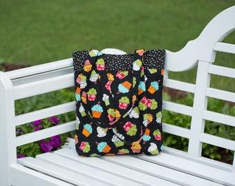 Handmade quilted cupcake tote bag, handbag, purse