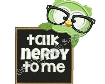 Talk Nerdy to Me Owl Applique Design