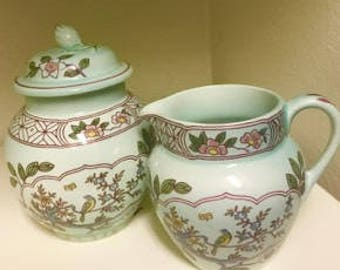 Vintage - Adams English Ironstone Calyx Ware, SINGAPORE BIRD Sugar and Creamer