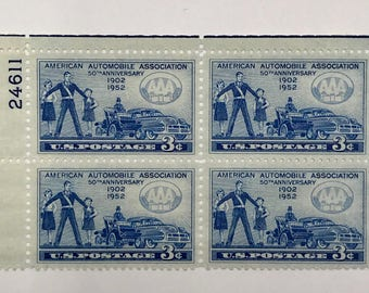 4 vintage 1952 American Automobile Association (AAA) vintage postage stamps | Perfect for scrapbooking, stamp collecting, snail mail art