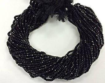 Natural Black Spinel 2mm Faceted Roundels, 13 inch Strand, Black Spinel Rondelle Beads (R-SPL-0021)
