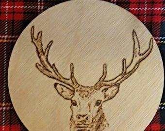 Scottish Highland Stag Art Wooden Coaster