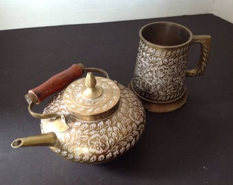 Antique etched brass teapot and mug made in India