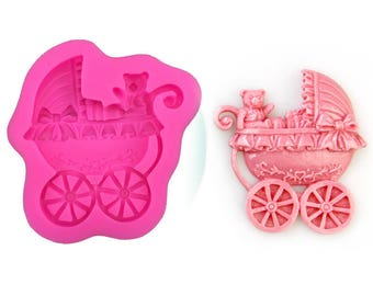 Baby Carriage Stroller Silicone Mold - Pram Baby Shower Cake Cupcakes Babies Chocolate Candy Soap Gift Mould Gender Reveal -