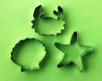 3 pcs Ocean Sea Theme Crab Starfish Shell Fondant Biscuit Baking Mold set