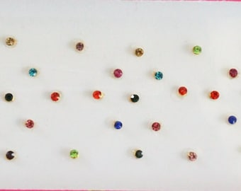 57 Multi color Stone Sticker Bindis,Indian Bindis Sticker,Fake Nose Stud Stickers,Colorful Stone Bindi Sticker,Tiny Stones,Face Tattoos Gems