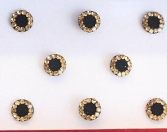 Black Round Bollywood Indian Bindi Stickers,Round Bindis,Velvet Face Black Bindis,Wedding Round Black Jewels Bindis,Self Adhesive Stickers