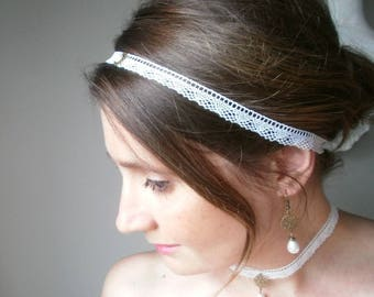 Lace, wedding, Bridal headband, finely perforated white French lace, brass finishes.