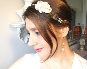 Headband wedding flowers nude and ivory chain bronze ghost retro, romantic and vintage.