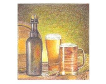 Beer Color Pencil Illustration