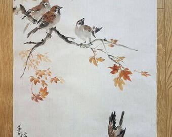 Original Traditional Chinese Brush Painting: Sparrows and Red Leaves