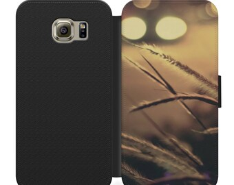Wheat grass in field flip wallet phone case for iphone 4 5 6 7, Samsung s2 s3 s4 s5 s6 s7 S8 S8 plus and more