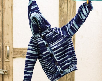 Baby Sweater, Hand Knitted, Size 2-3 Yrs, Striped, Hooded, Long Sleeves, Button Up, Baby Boy, Machine Wash, Gift, Unique, Blue, Handmade