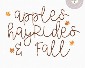 Fall SVG, Apples Hayrides and Fall Svg, Hayride SVG, Fall Festival Svg, Halloween Svg, Cutting File, Thanksgiving Svg Cut File, October svg