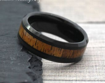 8mm black tungsten hawaiian koa wood inlay wedding bands mens wood wedding band tungsten