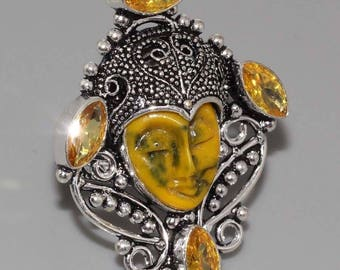 Buddha face carved Citrine and silver size 58 ring.  Zen ring, oriental ring, yoga, spiritual ring