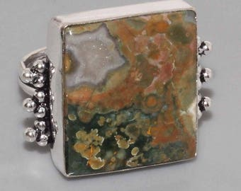 silver ring and Jasper rain forest size 57