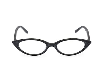 1950s 1960s style almond shaped Cat Eye for smaller faces Readers or Rx able frames NEW made to original vintage 'KATY' Charcoal Black