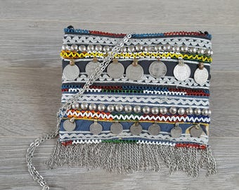 Bohemian Handmade Clutch, Banjara Bag, Clutch/Cross Body Bag/ Shoulder Bag, Antique coins, Silver bead and chain work, Vintage Patchwork