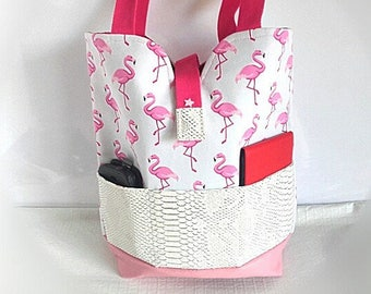 flamingos, flamingos, city bag Tote shoulder bag, beach bag, tote bag, white, pink faux printed stylized flamingos