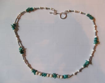 Beautiful  hand made Turquoise and White Magnesite Necklace