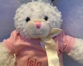 Toy rabbit with personalised pink t-shirt