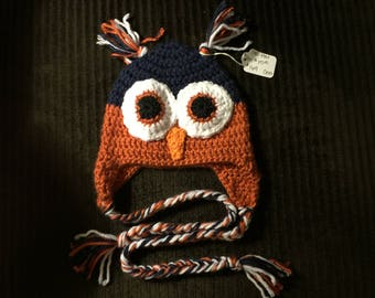 Hand Crochet Owl Hat 6-9 Month Size