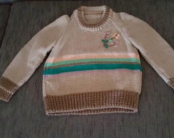 Jumper,Brown Beige Stripe, Sweater, Children