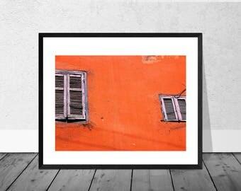 Morocco Art Print, Morocco Photography, Blue Windows, Red Wall, Marrakech, Colour Photography, Home Décor