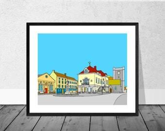 Wallingford Art Print, Wallingford Town Square, Oxfordshire Art Print, England Art Print, Town Square, Art Print