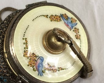 Antique R&G Sterling Enamel Mesh Compact Vanity Purse