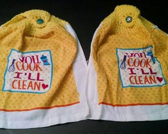 Crochet Kitchen Towels Set of 2 You Cook I Clean