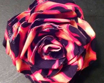 Fabric Rose Barrette Flames