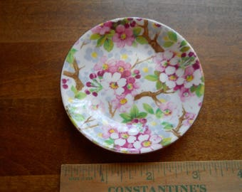 Hand Painted Vintage Butter Pat Plate Shellery England Fine bone China Numbered and Inld. 12830 D