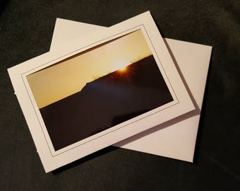 Blank Linen Notecard with Sunset Photo