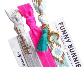 HELLO PINK TASSEL - 3 bracelets / hair ties - funnybunnies supersoft