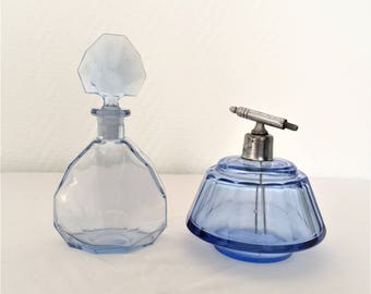 french vintage art deco blue glass perfume bottle