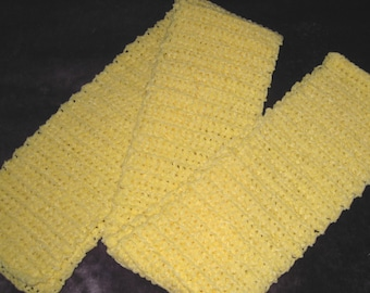 Crocheted Soft Yelllow Baby Chenille Scarf