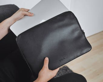 12 Inch MacBook Leather Sleeve Case - Black