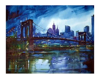 Brooklyn Bridge N.Y. Limited Edition Giclee print Signed and numbered by the artist Martin Oates. *Buy two get one free*