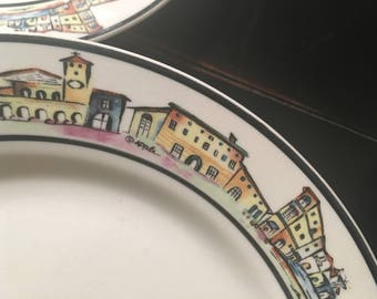 Set of 8 vintage Majolica Italia dinner plates