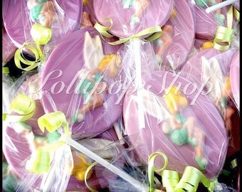 12 Tinkerbell chocolate lollipops (Birthday, tinkerbell party favors, tinkerbell, disney)