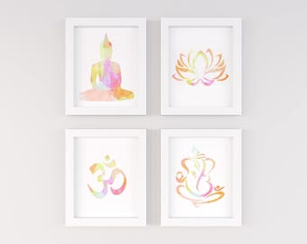 yoga wall art, watercolor Namaste set, buddha, ganesha, om, lotus, meditation wall art set,instant download